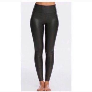 Spanx black faux leather leggings large L